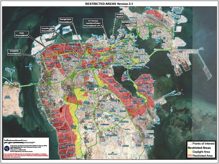 Alerts and messages us embassy in bahrain bahrain travel guidance map for usg employees gumiabroncs Images
