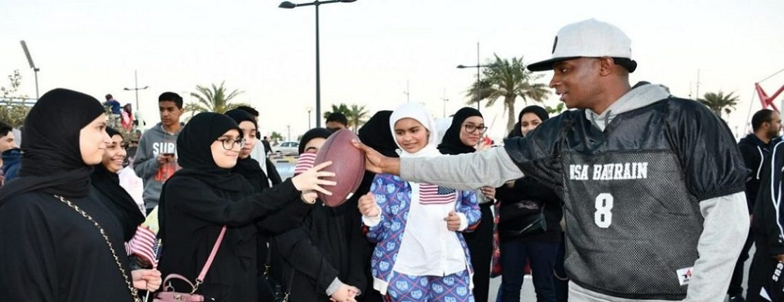 U.S. Embassy and U.S. Navy Teach American Football at Bahrain National Sports Day